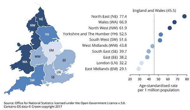 Drug deaths in England & Wales 2017